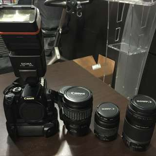 Canon 400D, Canon 28 - 135mm, Canon EFS 55 - 250mm, Sign an EF-530 Flash Pack, 3rd Party Grip