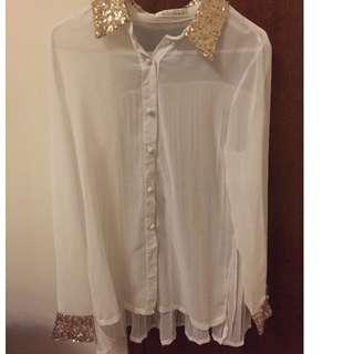 White Blouse Gold Collars
