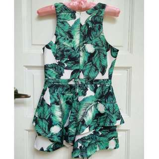 Tropical Leaf Print Playsuit / Jumpsuit