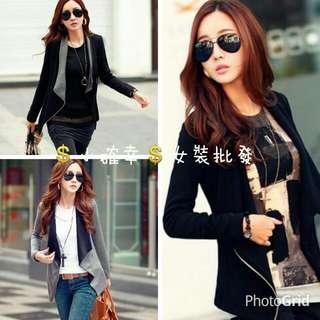 💲小確幸💲女裝批發💖秋裝新品 韓版時尚純色 拉鏈開衫上衣外套3色29559