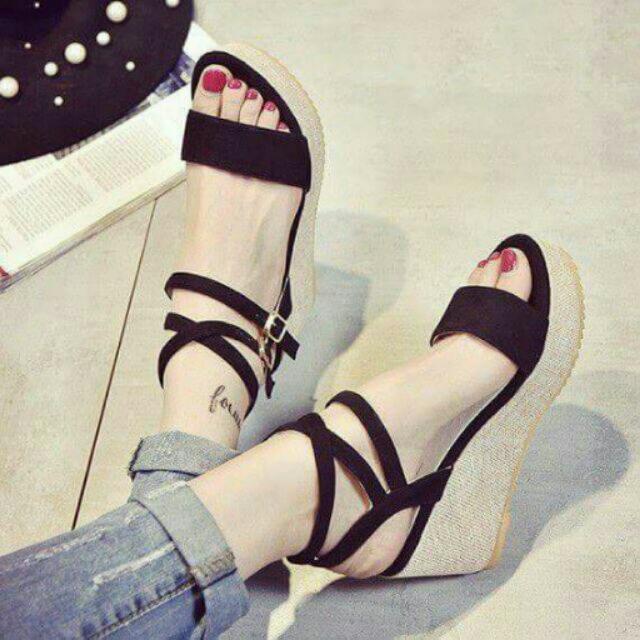 (現貨)韓系美腳交叉帶一字坡跟厚底鞋