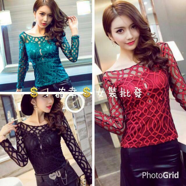 💲小確幸💲女裝批發💋韓版新款 夜店風後背鏤空 性感裹胸長袖上衣蕾絲衫3色29561