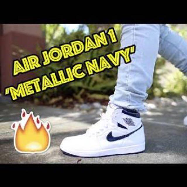 3d004e5ff2e Air Jordan 1 Metallic Navy 1, Men's Fashion, Footwear on Carousell