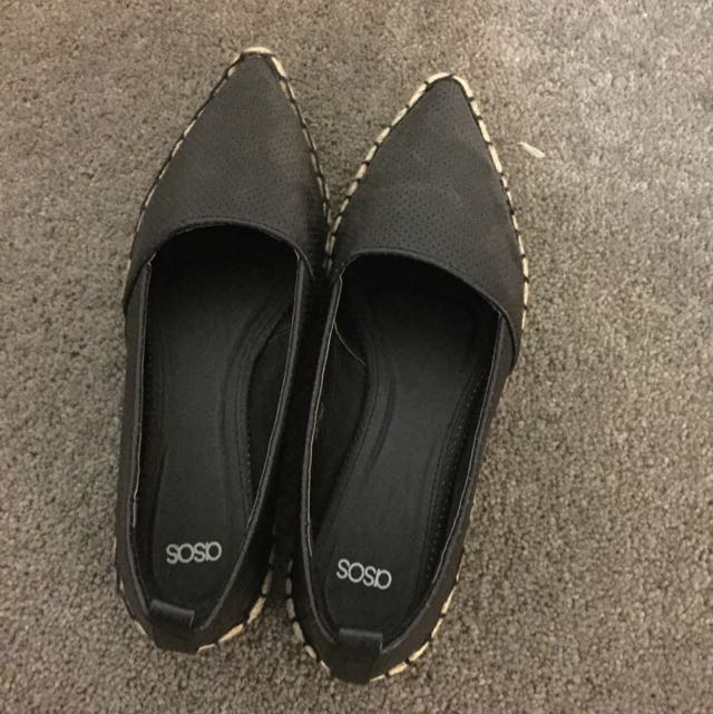Asos Black Flats - Uk Size 4 (size 6.5)