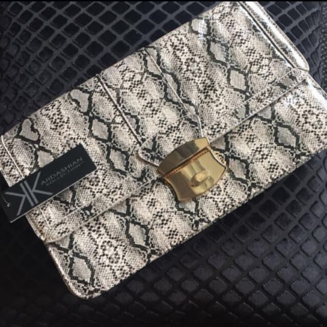 BNWT Kardashian Kollection Snake Print Clutch