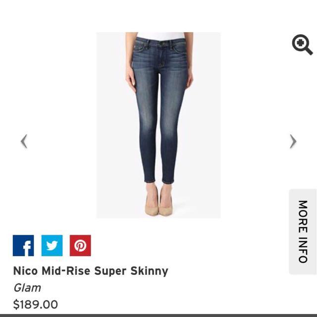 Brand New HUDSON Premium Denim Super Skinny Jeans (Style: Nico Mid Rise). Size 29.