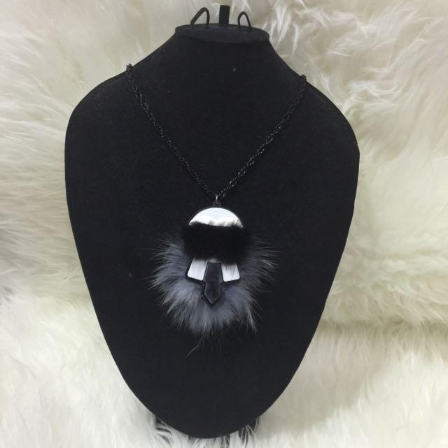Fur Karlito Necklace In Grey