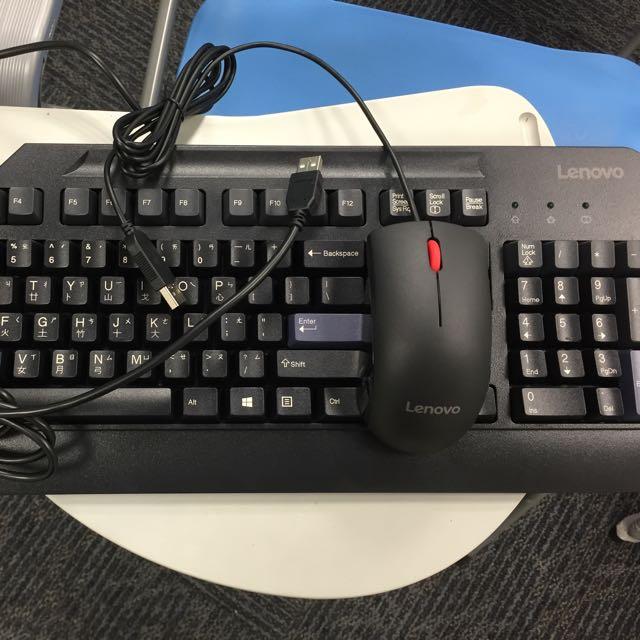 全新聯想Lenovo鍵盤+滑鼠。