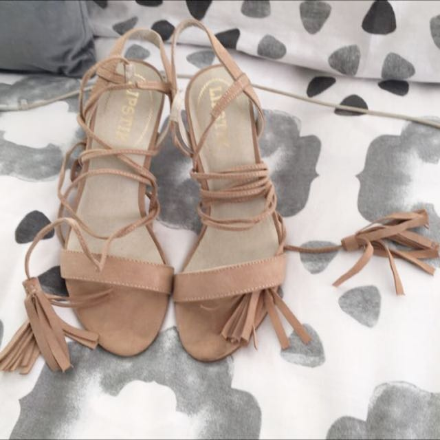 Lipstick Tan Suede Lace Up
