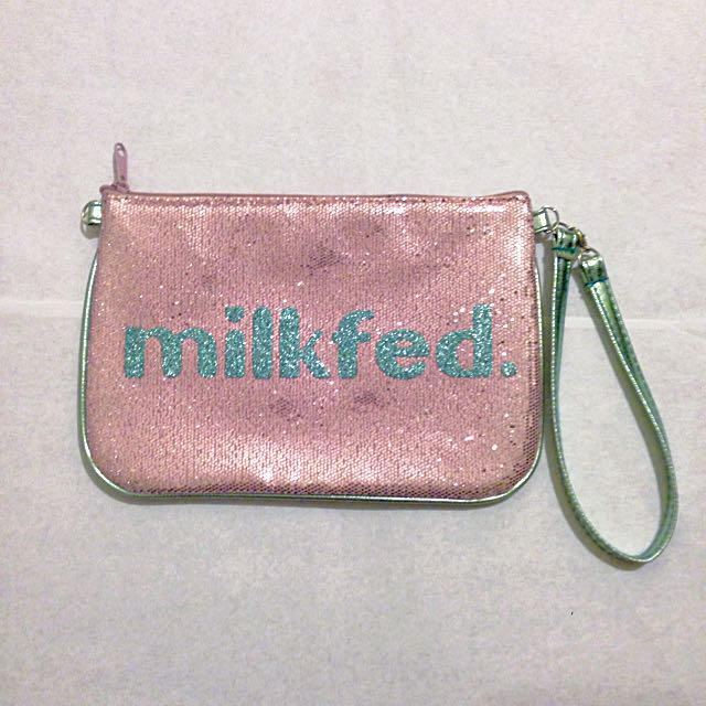 Milkfed. Japan Sparkly Glittery Pouch - Pink And Turquoise