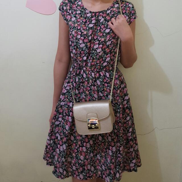 Mini Dress Bunga Bunga Black