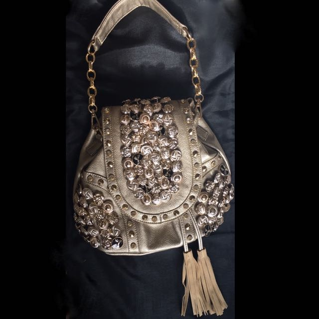 New 2016 Gold Faux Leather Bling Bag