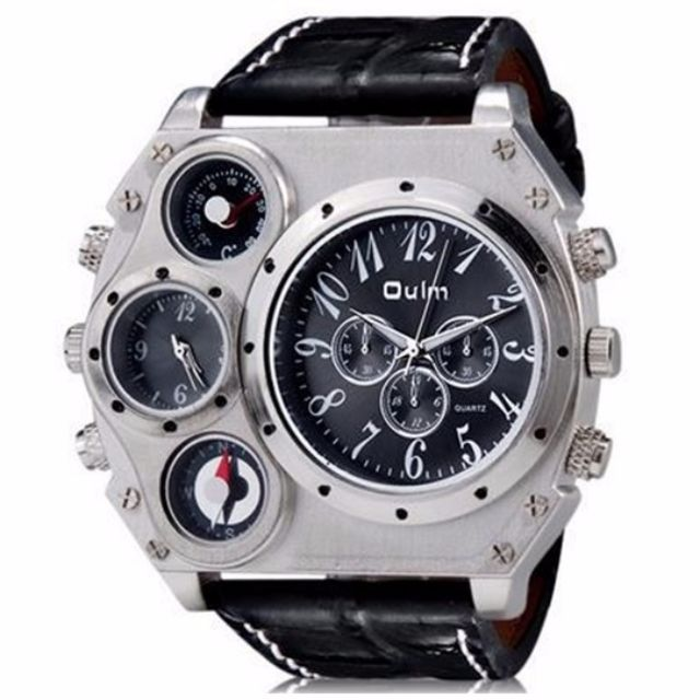 Oulm Mechanical Compass and Thermometer Quartz Men Leather Band