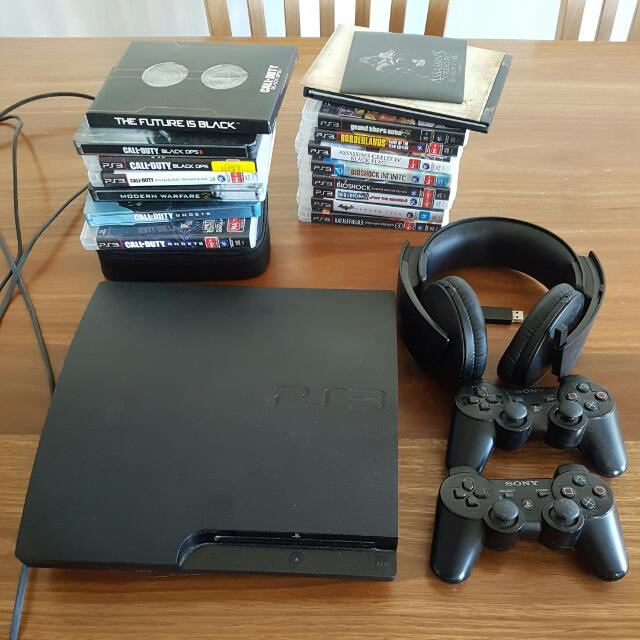 Price reduced to $200 take now !!  PS3 w/14 games and headset + 2 controllers
