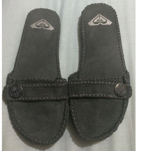 Roxy Grey Slides