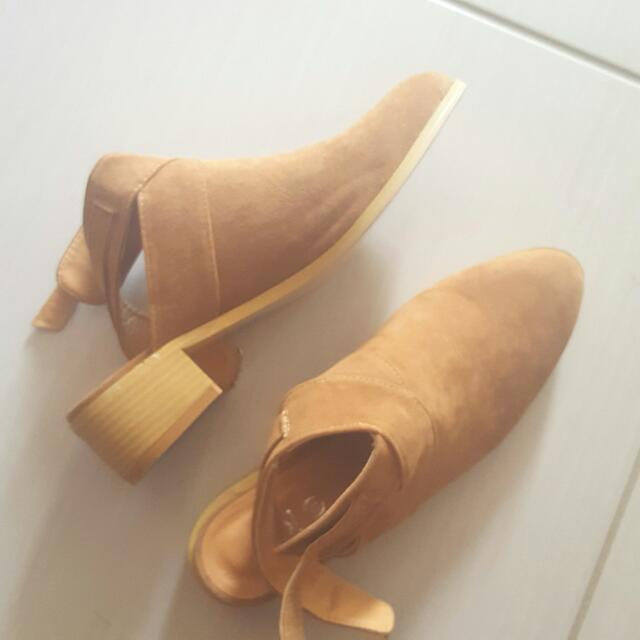 RUBI Tan Suede Cut Out Boots Size 39/8-8.5