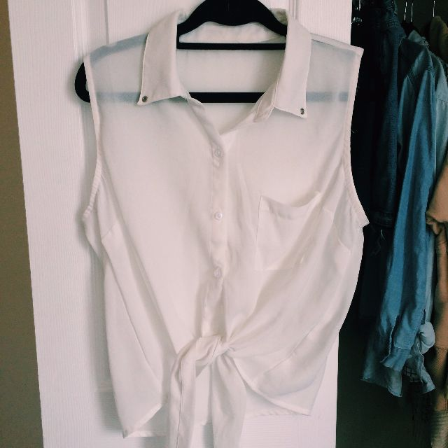 White sheer blouse top with Tie at bottom