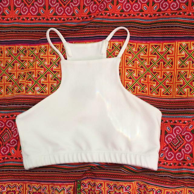 White strappy crop top