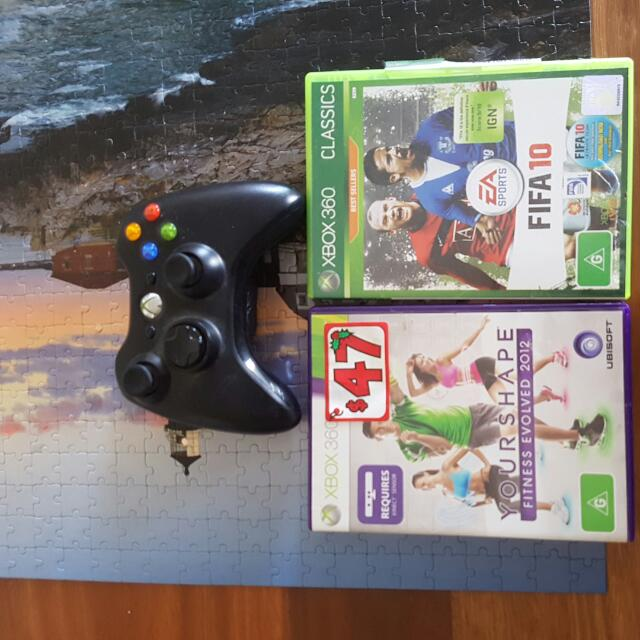 Xbox360 kinect game ,controller and fifa 10