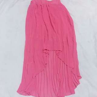 Electric Pleated Coral Skirt