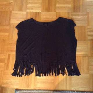 F21 Fringe Black Suede Top
