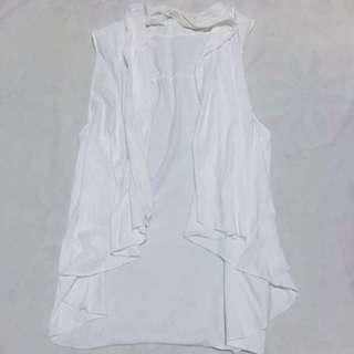 Sleeveless White Vest Cardigan