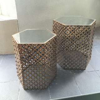 Hexagonal Nesting Accent Moroccan Table, Set of 2, Brass