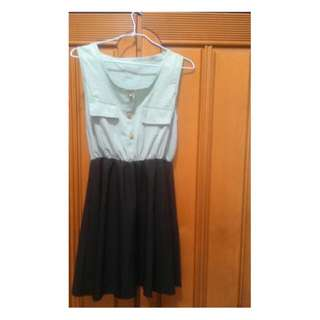 蘋果綠無袖短裙