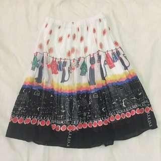 Art Nouveau Pleated Skirt