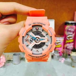 (保固期內)CASIO g-shock 電子錶 特別配色 橘粉色 珊瑚粉橘 寧靜粉藍色系