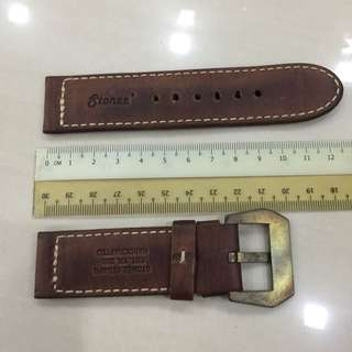 26mm Stonee Brown Leather Strap