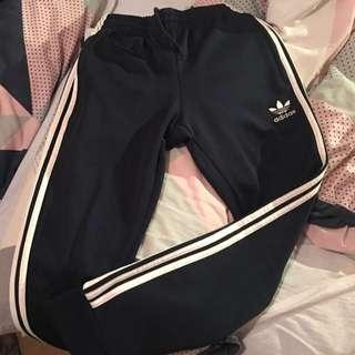 Navy Adidas Trackies (cuff Leg)