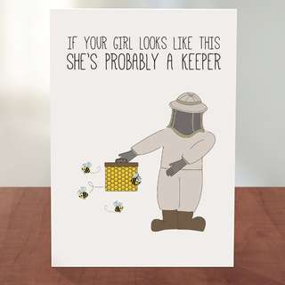 She's a Keeper ! ;) Greeting Card with SEEDS - Available in HE as well :)