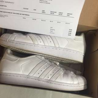 Size 7 Triple White Superstars