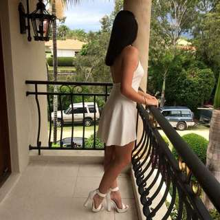 High Neck Low Back Dress