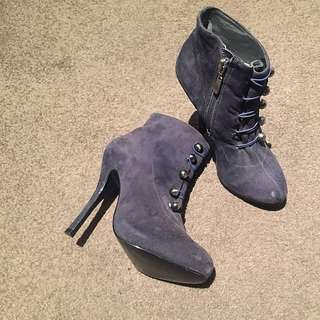 PRICE DROP Shubar Navy Suede booties