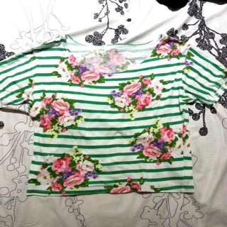Floral Top With Stripes FREE SHIPPING