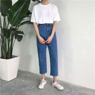 復古 寬褲 牛仔 高腰 高質量 韓系 褲 她很漂亮 金惠珍