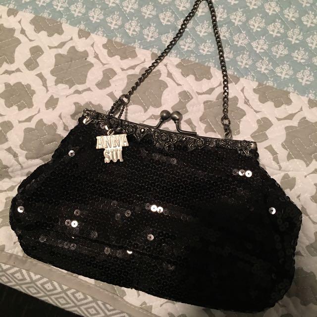 Authentic Anna Sui Vintage Look Sequin Clutch Bag