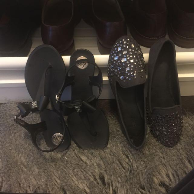 BCBG bow Sandals & Vera Wang Flats