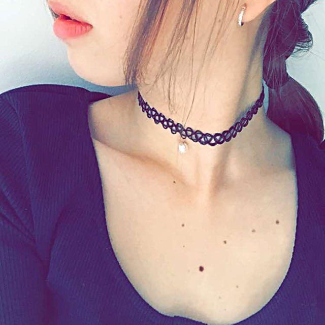 Black Choker Necklace Elastic Pearl