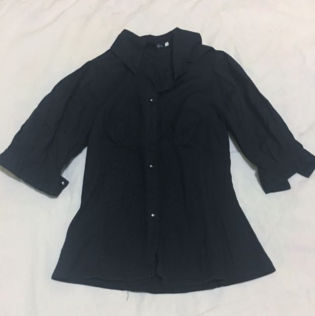 Black Puffed Sleeves Polo