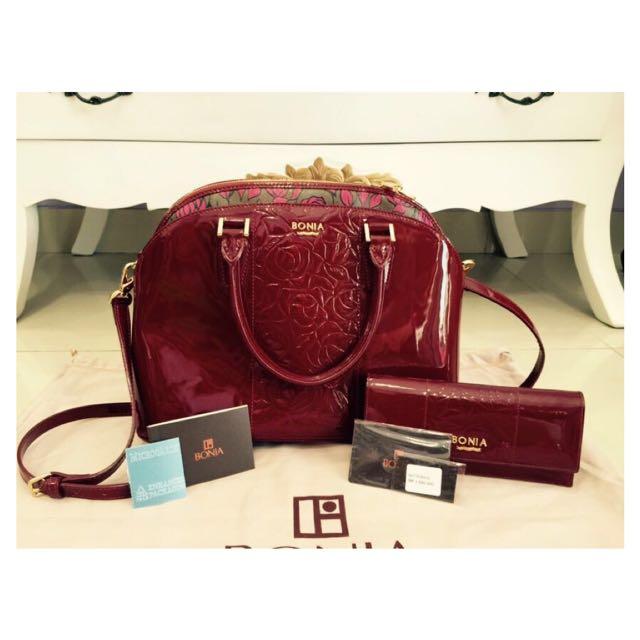 Bonia Bag & Wallet 'Flower' (Authentic)
