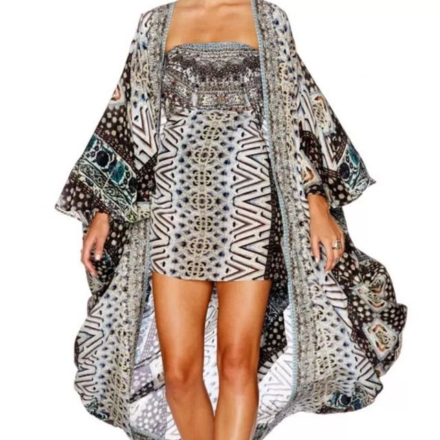 Camilla Long Cape In 'Imperial Echo' Print