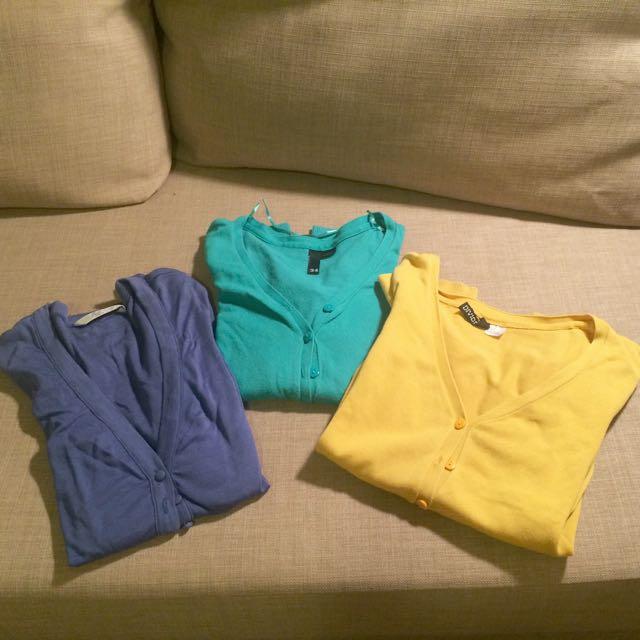 colour trio cardigans