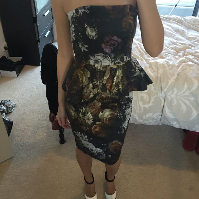 Dark Floral Peplum Midi Dress Size 10