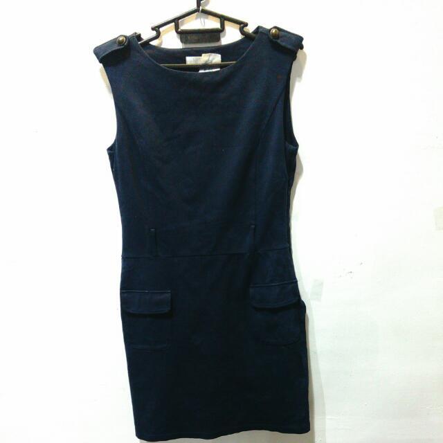 Dress Kerja Navy Blue