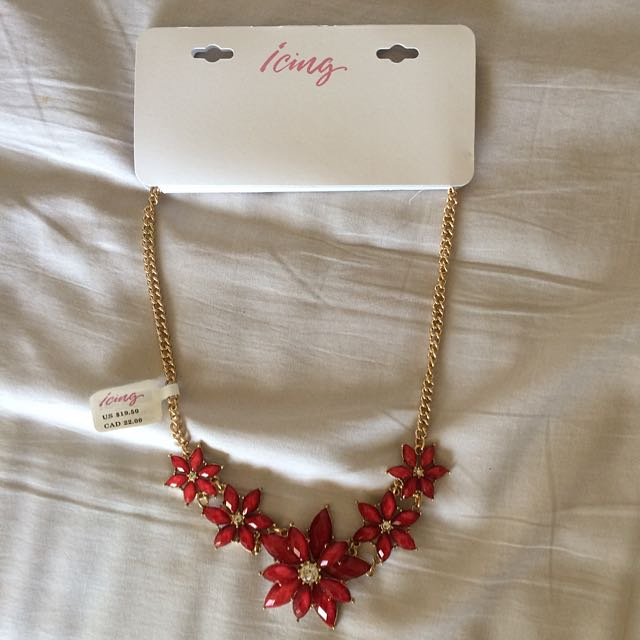 Icing Red Flowers Necklace