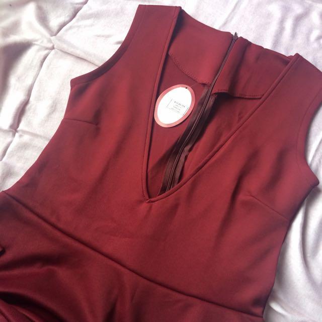 Maroon Dress Lady n Rose