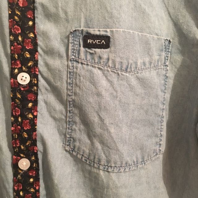 Mens RVCA Denim Floral Shirt Size Small